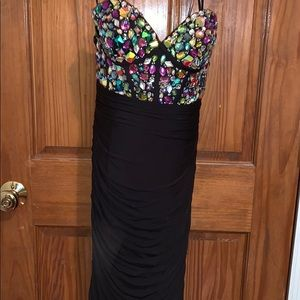 JOVANI PROM JEWELED RUCHING DRESS